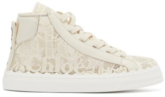 Chloé Lauren Scallop-edge Logo-lace High-top Trainers - Beige