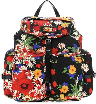 Miu Miu Floral Printed Backpack