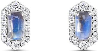 Petite Hexagon Moonstone & Diamond Earrings