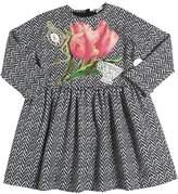 Dolce & Gabbana Embroidered Patch Cotton Interlock Dress