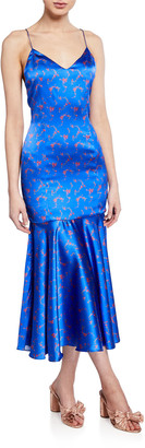 Caroline Constas Kai Floral Drop-Waist Silk Satin Slip Dress