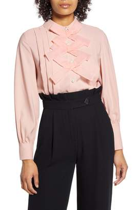 Halogen x Atlantic-Pacific Bow Front Pleated Blouse