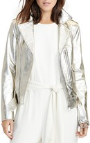 Lauren Ralph Lauren Metallic Leather Moto Jacket