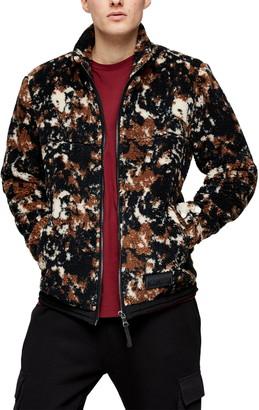 Topman Camouflage Borg Jacket