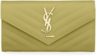 Saint Laurent Monogramme Large Grain de Poudre Leather Flap Wallet
