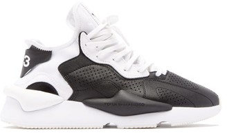 Y-3 Y 3 Kaiwa Thick-sole Leather Trainers - Mens - Black White