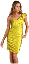 Vera Wang Lavender Label - Stretch Satin One Shoulder Ruched Dress (Coral) - Apparel