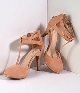 Unique Vintage Vintage Style Blush Nude Suede T-Strap Pumps Shoes