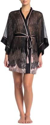 Josie Natori Lolita Sheer 3/4 Sleeve Wrap Robe