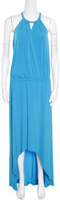 MICHAEL Michael Kors Blue jersey Chain Clasp Detail Draped High Low Dress M