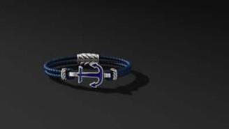 David Yurman Davidyurman Maritime Anchor Station Blue Leather Bracelet With Lapis