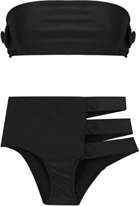 Adriana Degreas Cavalgade Button-embellished Cutout Bandeau Bikini