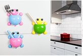 Bestga Creative Cute Cartoon Turtle Kids Wall Suction Cup Mount Toothbrush Toothpaste Holder Pencil Pen Phone Container Box Travel Organizer Plastic Pocket Storage Organizer - Pink