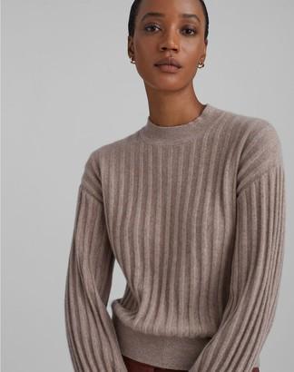 Club Monaco Ribbed Cashmere Blouson Sleeve Sweater