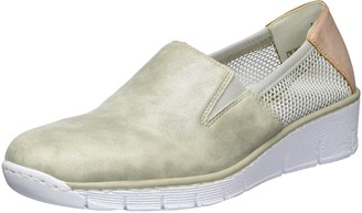 Rieker Women's 53780 Loafers Grey (Grey/Weiss-Gold/Rose / 40) 6.5 UK