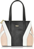 Pinko Black, Pink and White Embossed Leather Tote Bag