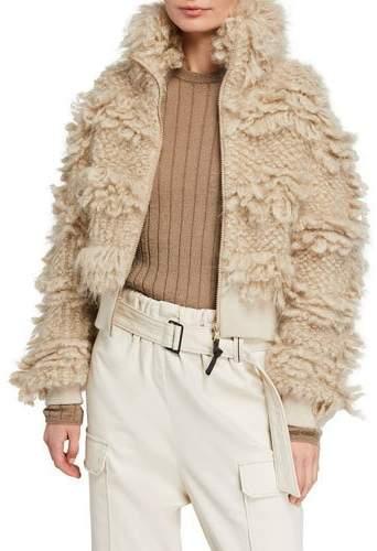Brunello Cucinelli Curly Hair Zip Front Sweater