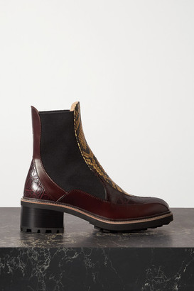 Chloé Paneled Snake-effect And Smooth Leather Chelsea Boots - Snake print