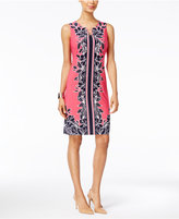 JM Collection Petite Printed Chain-Neck Sheath Dress, Only at Macy's