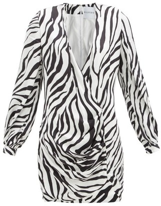 Halpern Draped Zebra-print Satin Mini Dress - Black White
