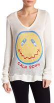 Lauren Moshi V-Neck Smiley Face Knit Pullover