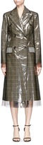 Calvin Klein Translucent plastic overlay check plaid Wall Street coat