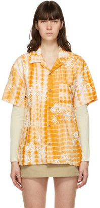 ANDERSSON BELL Yellow and White Tie-Dyed Embroidery Shirt