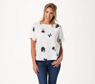 Vince Camuto Tossed Flowers Printed Pleat Back Blouse