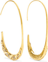 Noir Trapped gold-tone crystal earrings