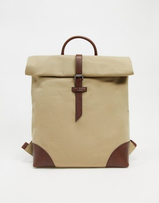 Ted Baker Featt recycled canvas backpack in beige