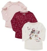 F&F 3 Pack of Bird Motif Flute Sleeve and Frill T-Shirts, Girl's