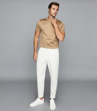 Reiss Bedford - Mercerised Cotton Crew Neck T-shirt in Camel