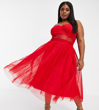 Lace & Beads Plus exclusive prom midi dress with mesh corset waist detail in red