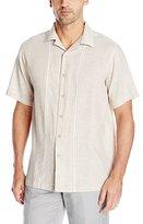 Haggar Men's Short Sleeve Linen Rayon Woven Shirt