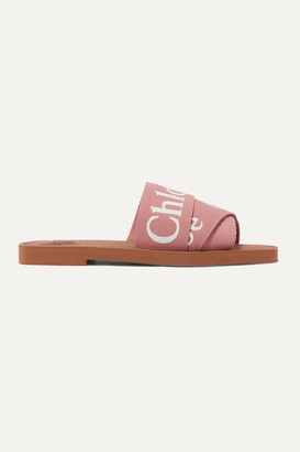 Chloé Woody Logo-print Canvas Slides - Blush