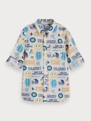 Scotch & Soda Printed Cotton-Linen Shirt Regular fit