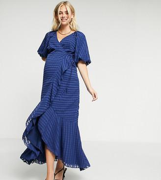 ASOS DESIGN Maternity wrap maxi dress in self stripe