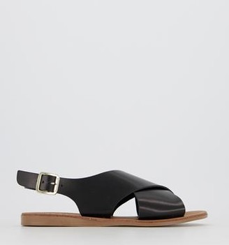 Office Seychelles Cross Strap Sandals Black Leather