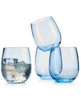 Martha Stewart Collection 4-Pc. Blue Acrylic Stemless Wine Glass Set