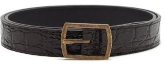 Saint Laurent Crocodile-effect Brown Leather Skinny Belt - Dark Brown