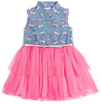 Little Lass Toddler Girl Unicorn Denim Dress