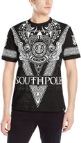 Southpole Men's Flock and Screen Print Graphic T-Shirt with Large V Pattern and Logo