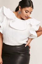 Forever 21 FOREVER 21+ Plus Size Semi-Sheer Ruffle Top