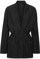 The Row Kim Plissé Stretch-jersey Cardigan - Black