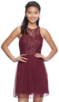 Speechless Juniors' Sparkly Lace Halter Skater Dress