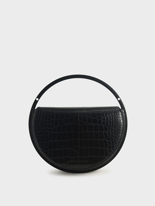 Charles & Keith Croc-Effect Semi-Circle Clutch