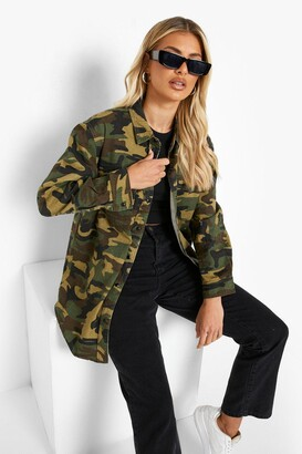 boohoo Khaki Camo Print Slim Fit Denim Shirt