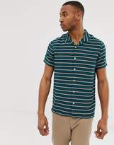 Ps Paul Smith PS Paul Smith short sleeve revere stripe shirt in teal