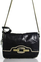 Treesje Black Leather Double Coil Straps Small Shoulder Handbag