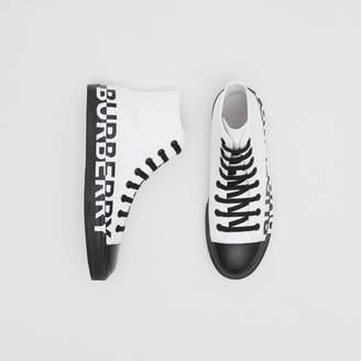 Burberry Logo Print Cotton Gabardine High-top Sneakers